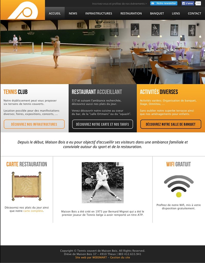 Illustration website Tennis Couvert de Maison Bois